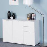 Casaria Dressoir Alba | Ladekast | wit met 3 deuren en laden | 107 x 74 x 35cm