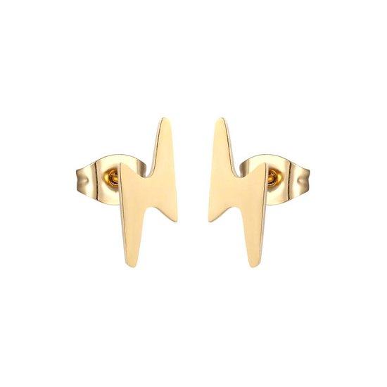 Aramat jewels ® - Zweerknopjes oorbellen bliksem flits goudkleurig chirurgisch staal 10mm