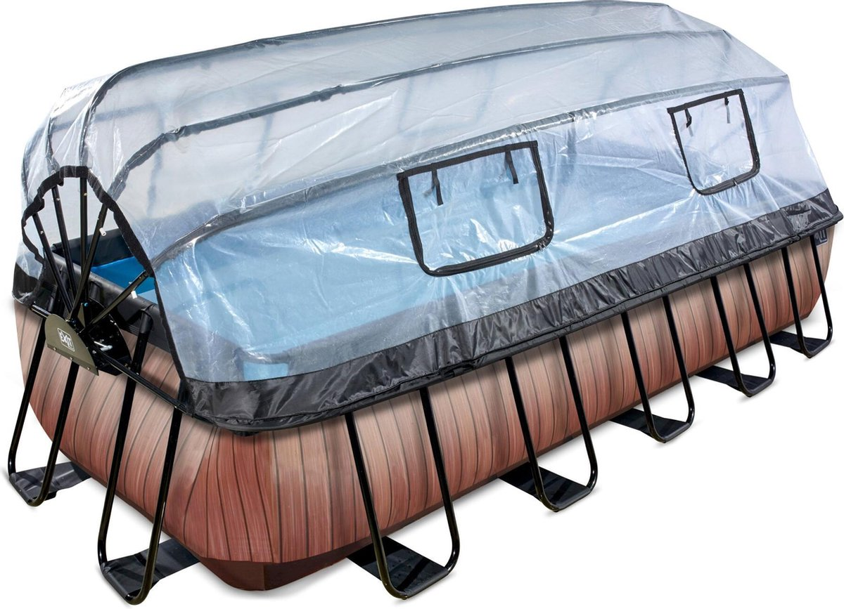 EXIT Wood zwembad 540x250x100cm met overkapping en zandfilter- en warmtepomp - bruin