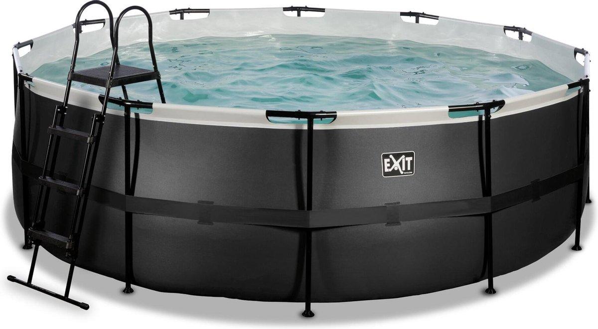 EXIT Black Leather zwembad ø427x122cm met filterpomp - zwart
