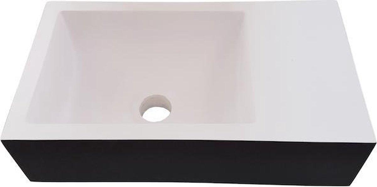 Linea Uno - Wastafel composiet Ockelbo - Mat zwart - 39,5 x 22 x 11 - Composiet - Rechthoek - 253005Z