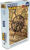Puzzel 500 stukjes Kompasroos - Kompasroos op de kaart van Washington  - PuzzleWow heeft +100000 puzzels