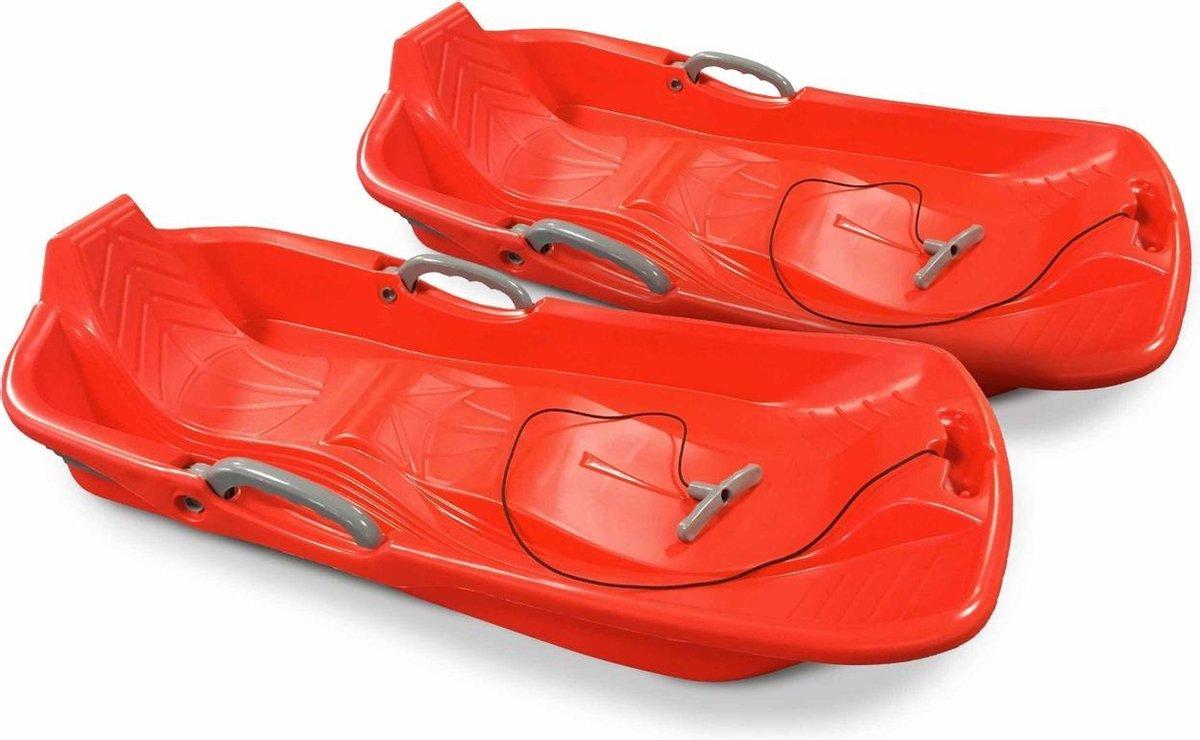 Set van 2 rode 2-zits sleeën met remmen, koord en trekhandvat, Made in France
