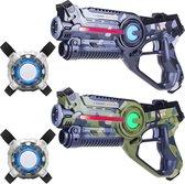 Light Battle Active Camo Lasergun Set - Groen/Grijs + 2 Lasergame Vesten - 2 Pack