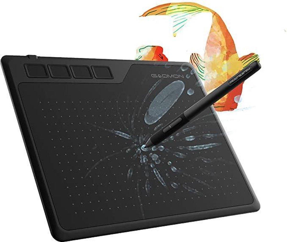 Tekentablet - GN S620 6,5 x 4 inch (diagonaal: 7,6 inch) grafisch tablet (met 4 Express toetsen) met batterijvrije pen.