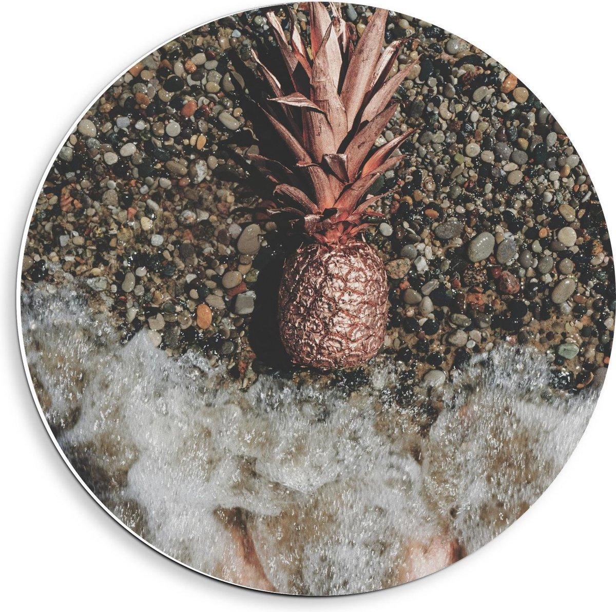 Forex Wandcirkel - Gouden Ananas Spoelt aan - 40x40cm Foto op Wandcirkel (met ophangsysteem)
