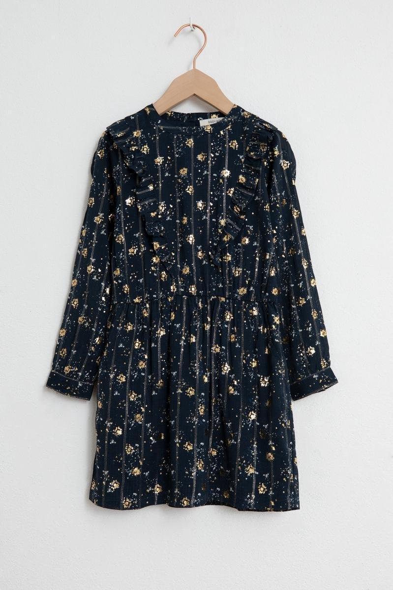 Sissy-Boy - Donkerblauwe jurk met lange mouw en sparkle