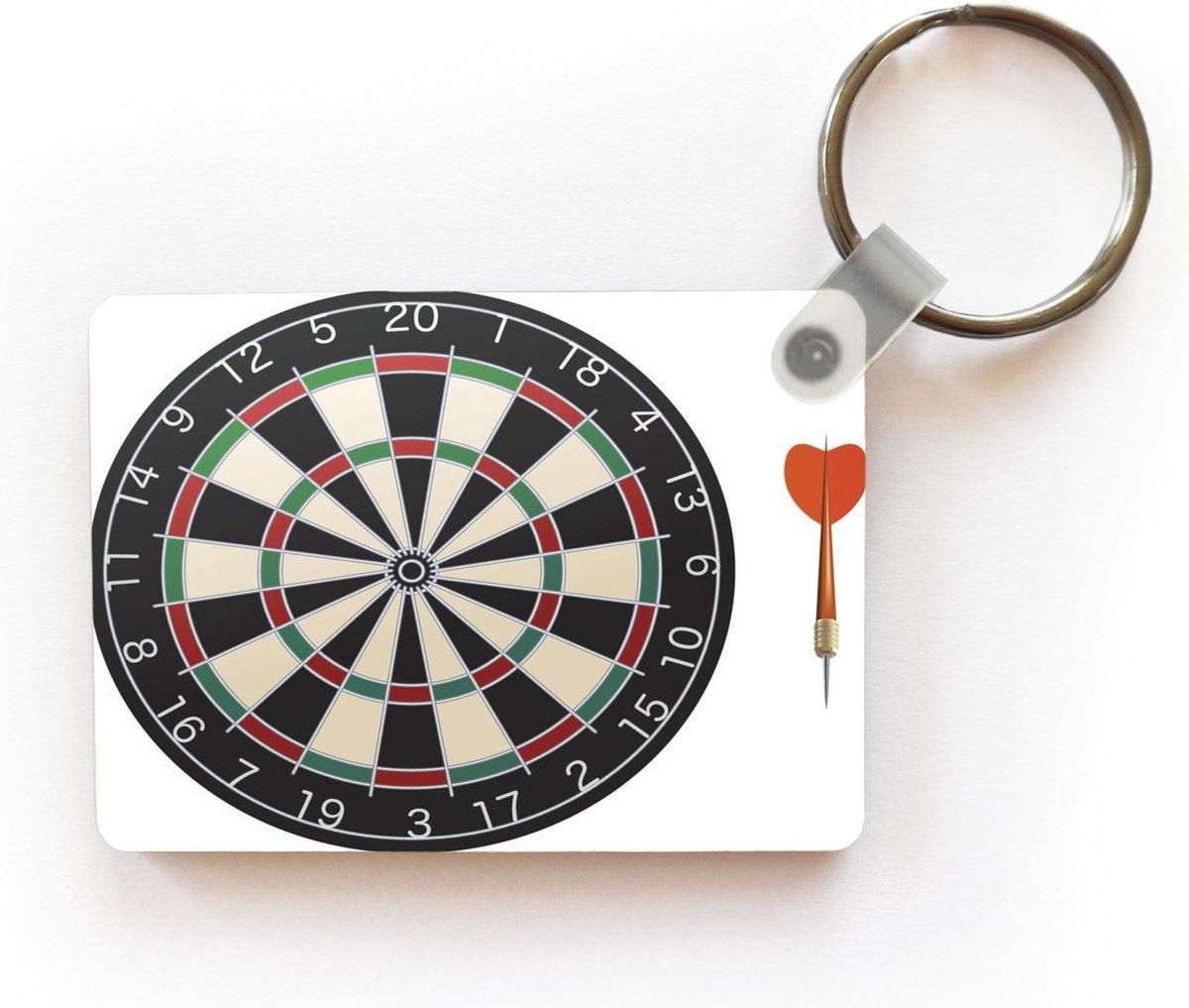 Sleutelhanger Darten illustratie - Een illustratie van een dartpijl naast het dartbord sleutelhanger plastic - rechthoekige sleutelhanger met foto