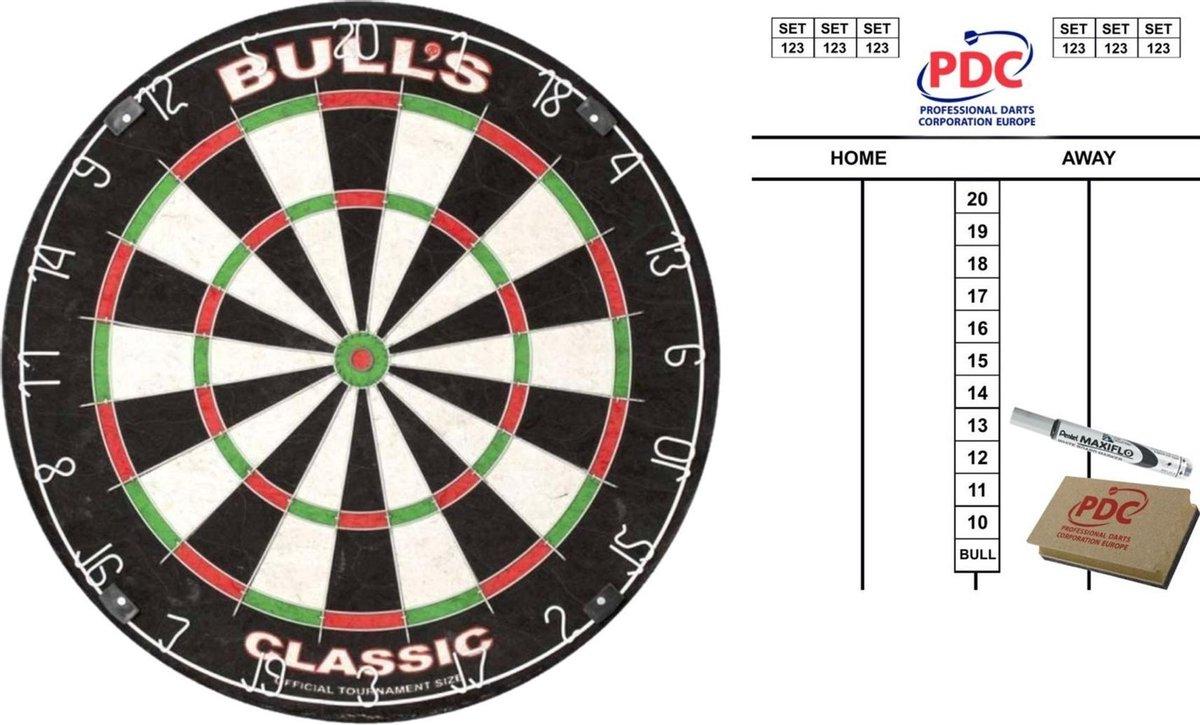 Dartbord Bulls The Classic 45 cm met scorebord met marker en wisser 45x30 cm