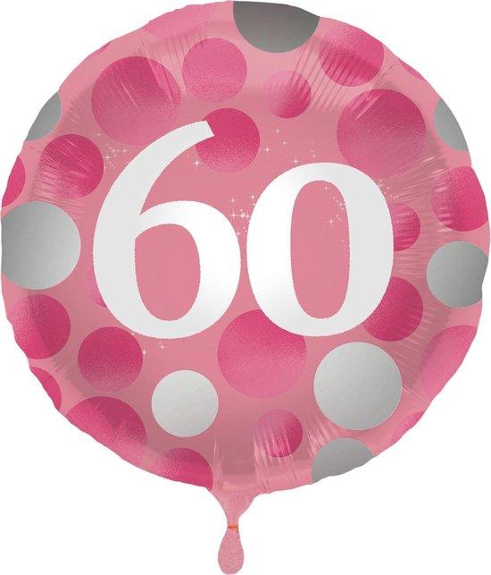 Folat Folieballon Stippen 60 Jaar 45 Cm Roze