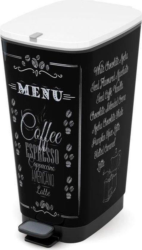 Kis Chic Bin Coffee Menu Prullenbak - 50 l - zwart