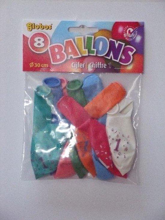 Latex ballonnen - 1 Jaar - 8 stuks - 30cm doorsnee
