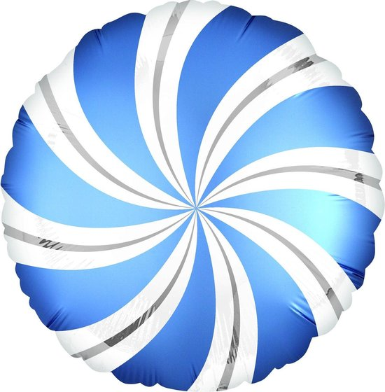 Anagram Folieballon Candy Swirls 30 Cm Blauw/wit