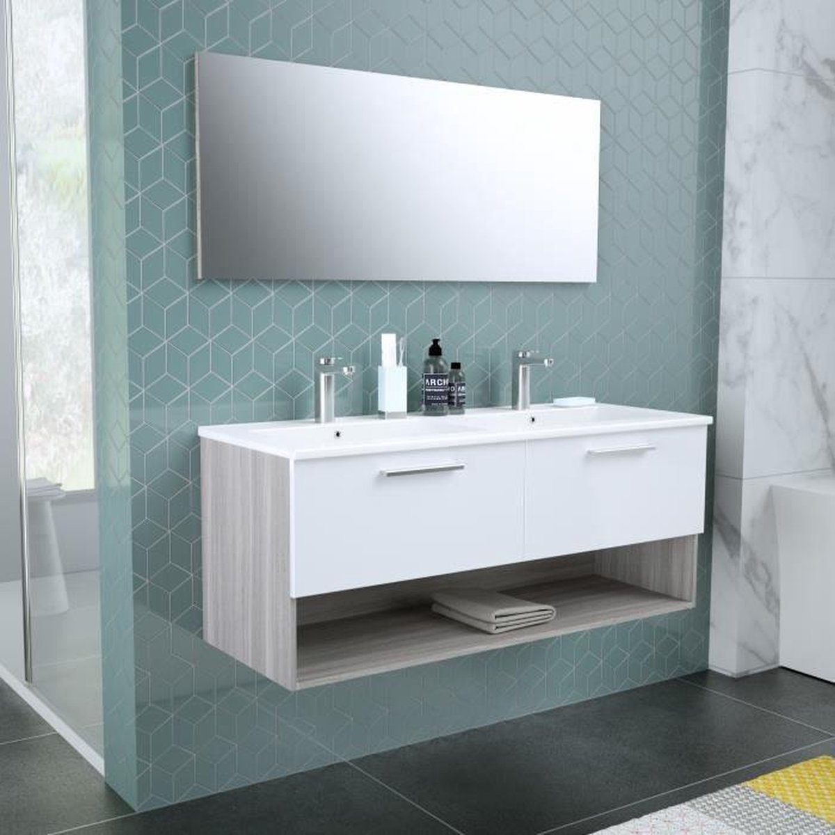 BENTO Dubbele wastafel badkamer + spiegel L 120 cm - 2 langzaam sluitende lades - Wit