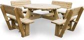 MaximaVida luxe ronde houten picknicktafel Tallinn 140 cm met 4 rugleuningen