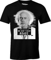 """Back To The Future - Black Men's T-shirt """"We Don't Need Roads"""" - XL"""