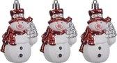 3x Kersthangers figuurtjes sneeuwpop rood 8 cm - Sneeuwpoppen thema kerstboomhangers