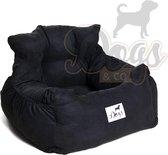 Dogs&Co Honden autostoel Royal Zwart - Zeer luxe hondenmand voor in de auto - Comfortabele honden autozitje - Zwart kleurig en zeer makkelijk schoon te maken - veilig auto bench voor puppy en/of hond