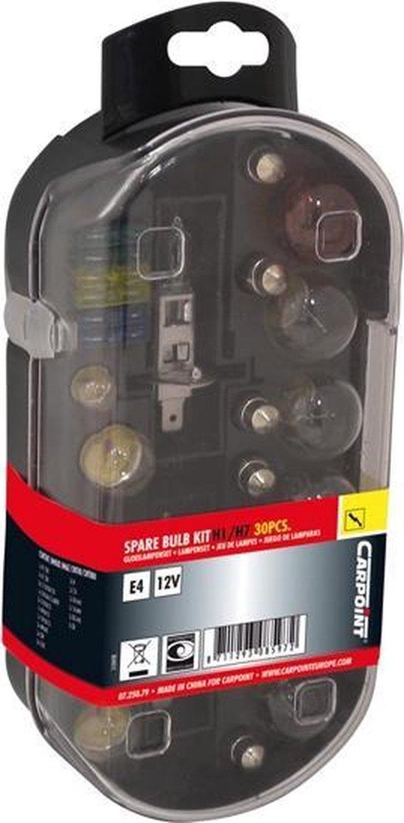 Carpoint Reservelampenset Auto H1 + H7 12 Volt 30-delig