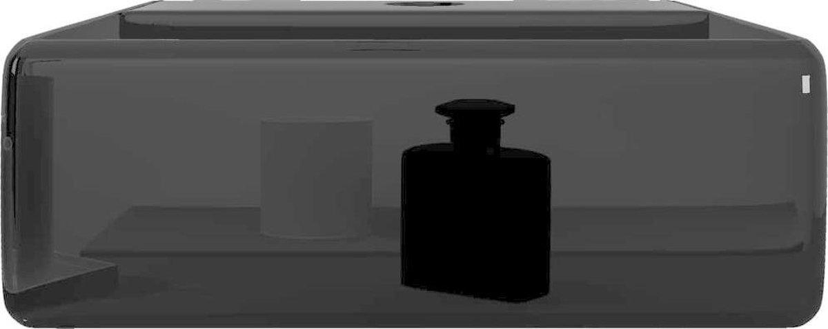 vidaXL Wastafel met kraangat zwart vierkant keramiek