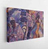 "jazz club, jazz band, oil painting, artist Roman Nogin, series ""Sounds of Jazz."" - Modern Art Canvas  - Horizontal - 1304082976 - 115*75 Horizontal"