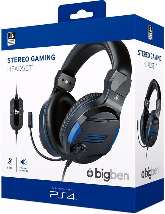 Official Licensed Playstation Stereo Gaming Headset V3 - PS4 & PS5 - Zwart/Blauw