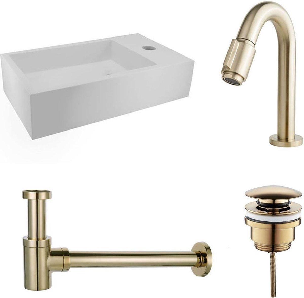 Fonteinset Nila Solid Surface Mat Wit Rechts 40x22x10cm Toiletkraan Knop Clickwaste Sifon Geborsteld Goud