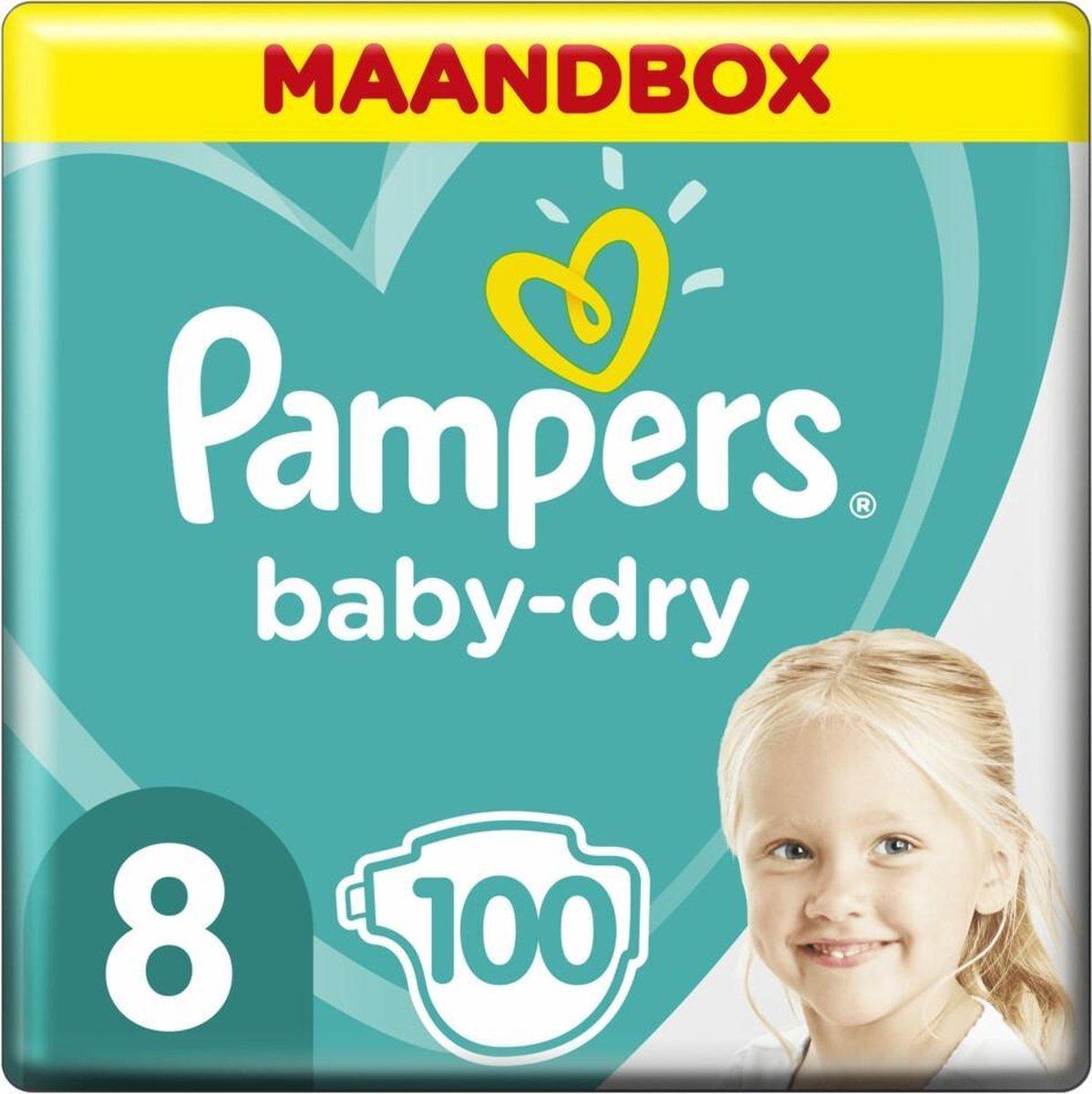 Pampers Baby-Dry Luiers - Maat 8 (17+ kg) - 100 stuks - Maandbox