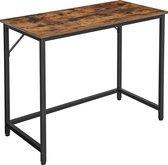 Compacte Bureau, Computertafel, 100 cm Lang, Tafel voor kantoor, stalen frame, industriële stijl, vintage bruine plank, zwarte poten