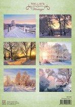 NEVI087 Knipvel Nellie Snellen - Christmas time 7 - kerstlandschap - sneeuw
