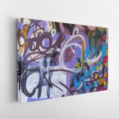 Beautiful street art of graffiti. Abstract color creative drawing fashion on walls of city. Urban contemporary culture. Title paint on walls. Culture youth protest. ABSTRACT PICTURE - Modern Art Canvas  - Horizontal - 342792449 - 50*40 Horizontal