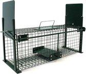 Vangkooi voor dieren van 61x21x23cm - rattenval - dubbele ingang - groen - staal