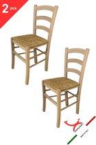 Tommychairs - Set van 2 klassieke stoelen model Venezia. Zeer geschikt voor keuken, bar en eetkamer, sterke structuur in gepolijst beukenhout, niet behandeld, 100% natuurlijk en zitting in stro