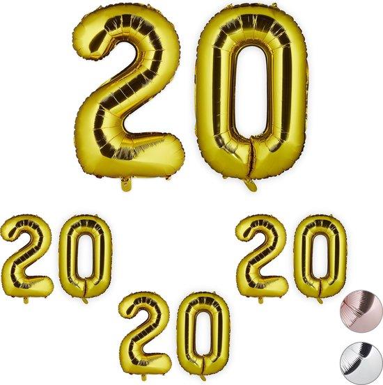 relaxdays 4x folieballon getal 20 - luchtballon folie ballon - XXL cijferballon - goud