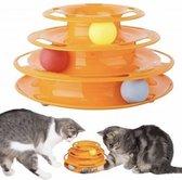 Speelgoed spiraalvormige toren - inclusief 3 ballen - 35 x 13,5 cm - voor cat