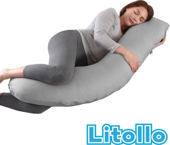 Litollo® Zwangerschapskussen (J-shape)   Zijslaapkussen   Voedingskussen   Lichaamskussen   Body pillow   145cm   Afneembare hoes  Luxe opbergtas   Grijs