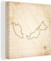 Illustratie van een kaart van Maleisië 20x20 cm - klein - Foto print op Canvas schilderij (Wanddecoratie woonkamer / slaapkamer)