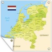 Tuinposter - Illustratie van een gedetailleerde kaart van Nederland - 120x160 cm - XXL