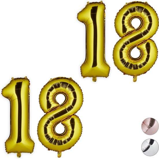 relaxdays 2x folieballon cijfer 18 - luchtballon - folie ballon - lucht   helium - goud