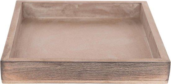Vierkant houten kaarsenplateau/kaarsenbord greywash 20 x 20 cm - Onderbord/kaarsenplateau/onderzet bord voor kaarsen