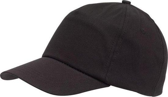 Zwarte baseballcap 5-panel voor volwassenen met klittenbandsluiting