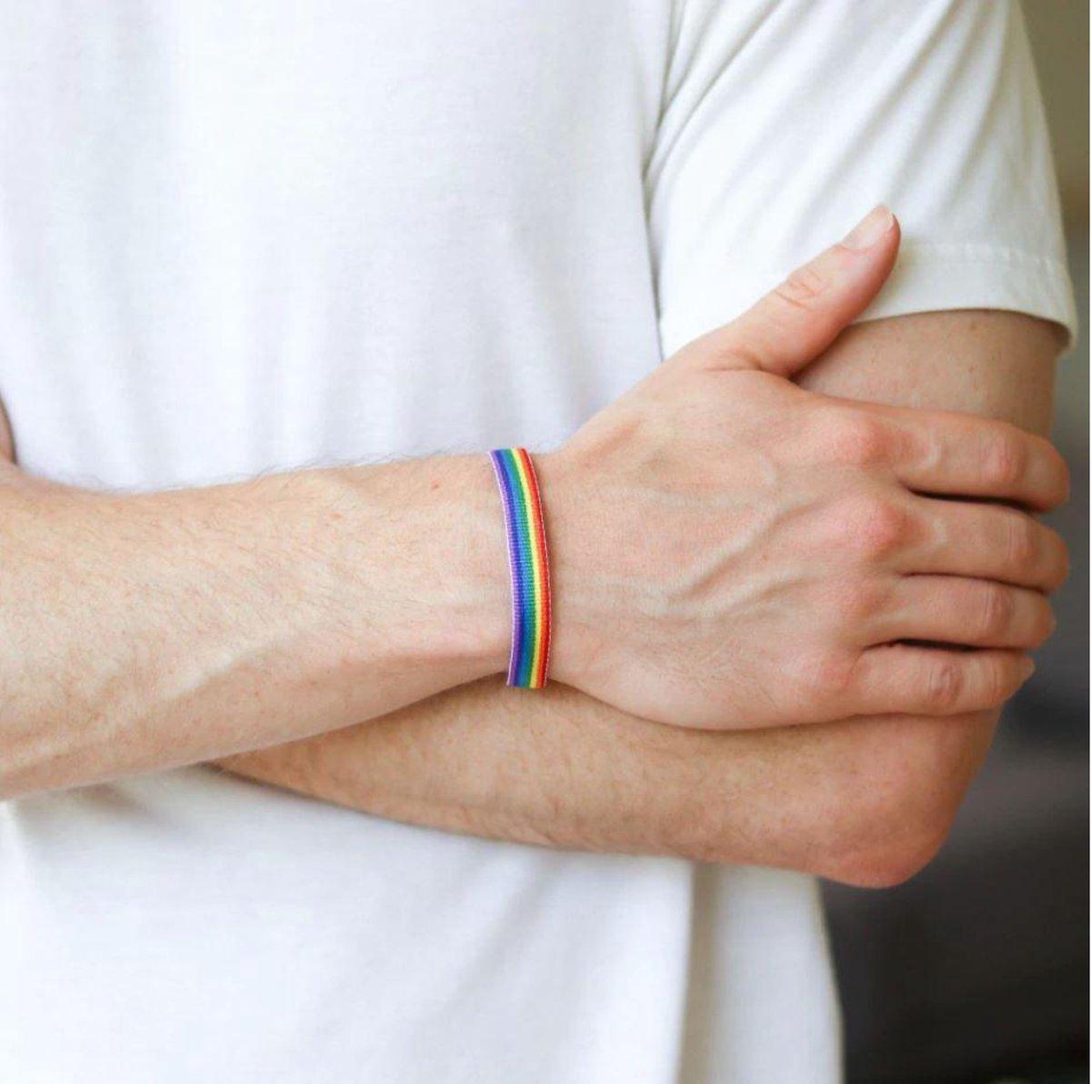Pride armband - LGBTQ - Regenboog - 23 cm - 1 stuks