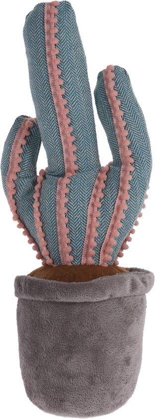 1x Deurstopper cactus grijs/blauw 37 cm - Huishouden - Woonaccessoires/benodigdheden - Deurstoppers/raamstoppers cactussen