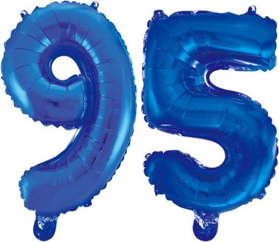 Folieballon 95 jaar blauw 86cm
