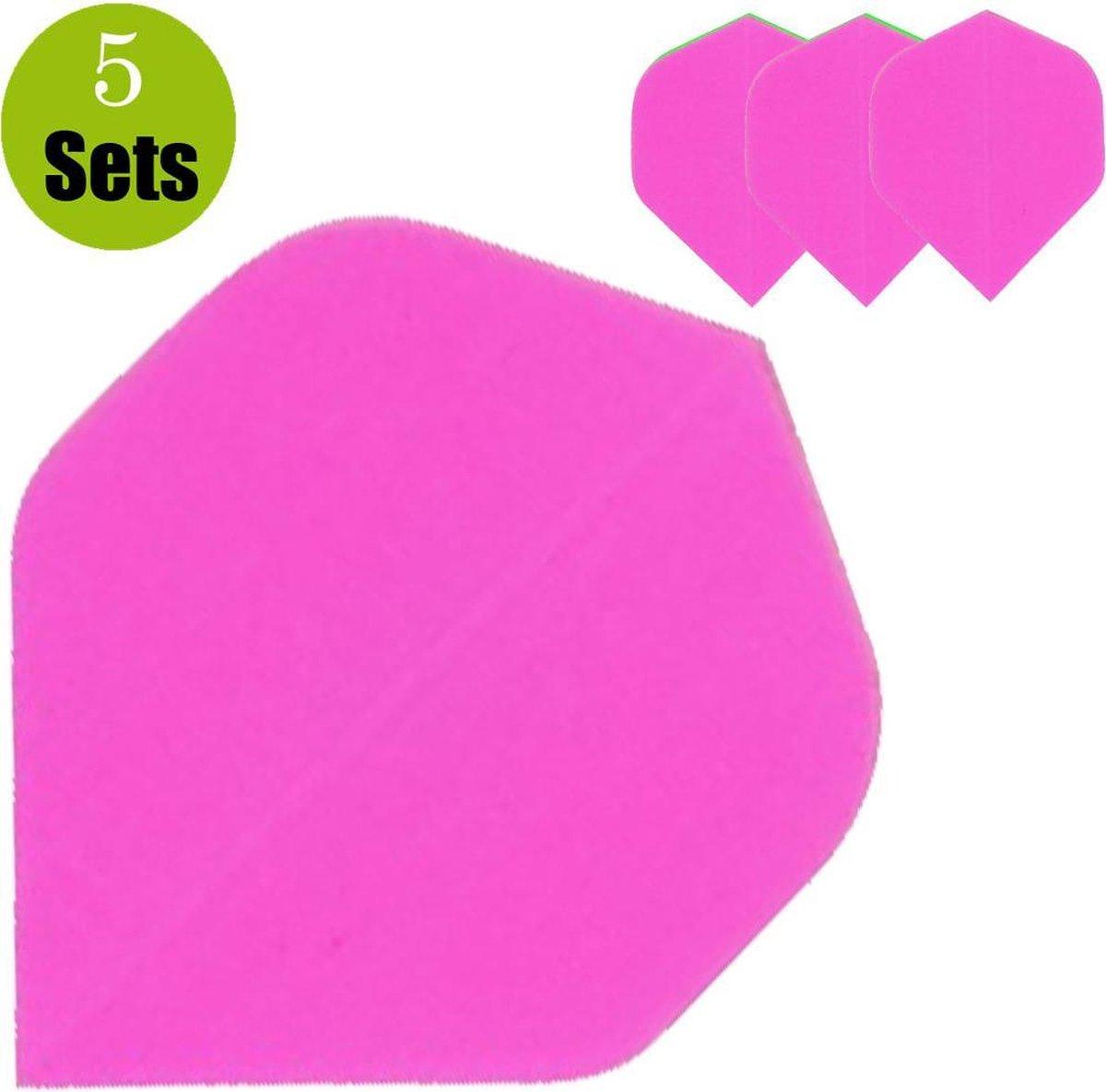 Poly Plain Dartflights - Fluor Roze- (5 Sets)