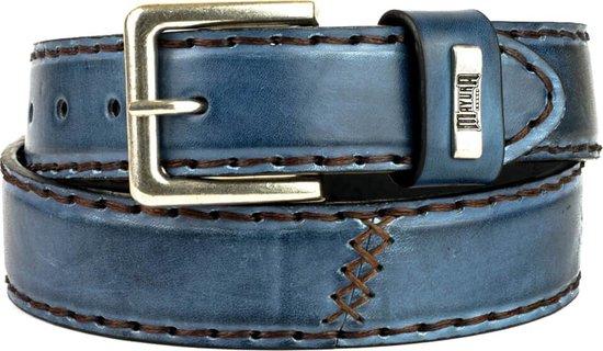 Mayura Riem 925 Jeans Blauw Cowboy Western 4 cm Brede Jeans Riem Verwisselbare Gesp Glad leder Maat 115 cm (bovenkant gesp tot middelste gaatje)