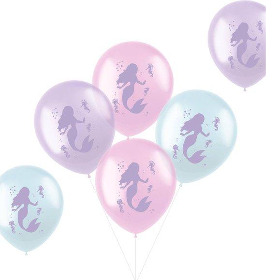 Folat Ballonnen Zeemeermin Pastel 33 Cm Latex Roze 6 Stuks