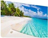 Palmbomen bij wit strand en blauw water Tuinposter 200x100 cm - Tuindoek / Buitencanvas / Schilderijen voor buiten (tuin decoratie) XXL / Groot formaat! / Zee en Strand