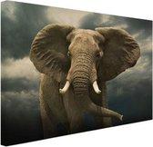 Afrikaanse olifant donkere wolken Canvas 180x120 cm - Foto print op Canvas schilderij (Wanddecoratie woonkamer / slaapkamer) / Dieren Canvas Schilderijen XXL / Groot formaat!