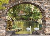 Tuindoek stenen doorkijk zwanen - 130x95 cm - tuinposter - tuin decoratie - tuinposters buiten - tuinschilderij
